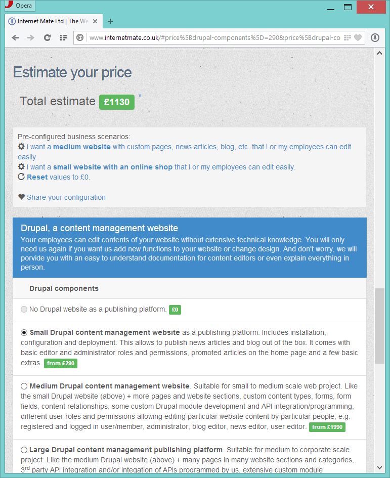 Internet Mate Ltd price estimator