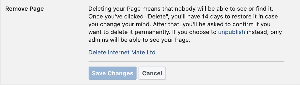 Delete Internet Mate Ltd Facebook page.