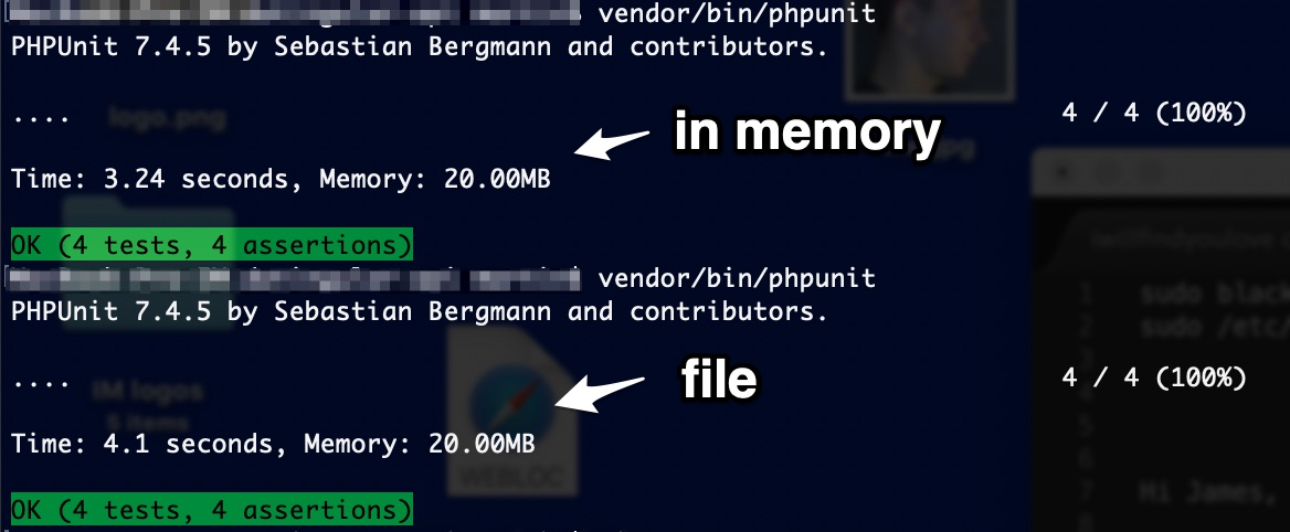 PHPUnit Laravel database test SQLite in file vs SQLite in memory